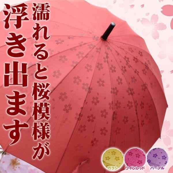 傘 16本 骨傘■濡れると桜模様が浮き出る傘■さくら柄...